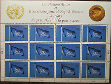 2001 UN Mint NH Sheet = Geneva Office = Scott# 384 = Nobel Prize = SCV$ 13.50