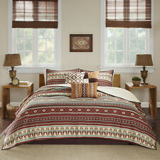 BEAUTIFUL CABIN LODGE BROWN RED BLUE IVORY SOUTHWEST QUILT SET KING OR QUEEN NEW