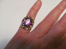 Vintage yellow gold synthetic alexandrite ring very nice and ornate!