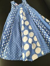 Monsoon Girls Sz 5 6 Blue White Polka Dot Dress Sleeveless Summer 4th July