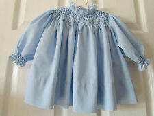Vtg Unbranded Blue Hand Smocked Baby Girls Dress Size 6-12 Months??