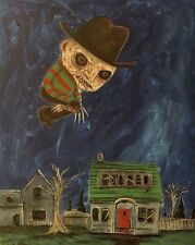 GUS FINK art ORIGINAL Painting outsider horror surreal lowbrow FREDDY KRUEGER