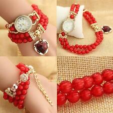 Girls Pearl Beads Rhinestone Bangle Bracelet Chain Wrist Watch Lady Fashion