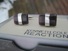 Kenneth Cole Reaction Cufflinks, Silver-Tone with Deep Red Lucite, $40 Retail