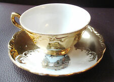 VINTAGE BCG BAVARIA GERMANY TEA CUP & PIATTINO PORCELLANA DIPINTO ORO 24k