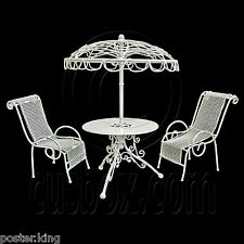 Set White Metal Outdoor Table Pair Chairs 1/12 Doll's House Dollhouse Furniture