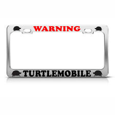 TURTLE MOBILE Metal Chrome FUNNY License Plate Frame ANIMAL LOVER Tag Border