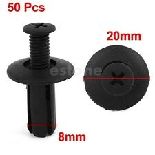 50pcs Car Bumper Door Trim Fender 8mm Hole Plastic Push in Rivets Fastener Black