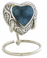 INCLUDES STAND - Mini Keepsake Heart Urn for Ashes - Beautiful Blue / SIlver