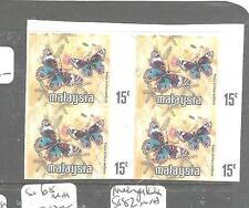 MALAYA MALAYSIA (P2704B) BUTTERFLY 15C IMPERF BL OF 4, NO STATE NAME  MNH