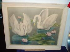 Vintage Mid Century Signed Turner Swans Lily Pads Print w/ Original Frame Retro