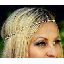 Handmade Women Head Chain Pearl Forehead HeadPiece HairBand God Tone Hair Accs
