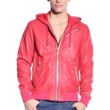 •SPRING CLEARANCE• DIESEL L-HASSO Red Hooded Leather Jacket Men's M (Fit Small)