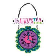 Hanging Sign Clock  Mad Hatter Alice in Wonderland Tea Party Theme Afternoon Tea