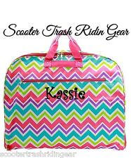 Personalized Garment Bag tote PINK aqua multi chevron monogram dress bag hanging