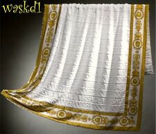 VERSACE white Signature terry Gold BAROQUE border BEACH blanket Towel NWT Authen