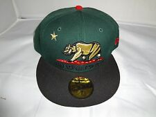 California Republic Hat 7 3/4 New Era Green Red Black Gold Cali Cap West Coast
