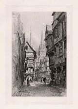 "Nice 1800s Maxime LALANNE Antique Print ""Old French City of Quimper"" SIGNED COA"
