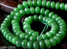 """5x8mm Natural Faceted Green Jade Nephrite Rondelle Gemstone Loose Beads 15""""AAA"""