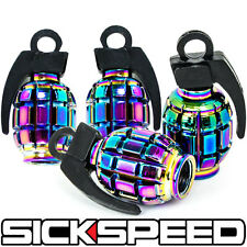 4 ANODIZED GRENADE VALVE STEM CAP KIT/SET FOR RIMS/WHEELS/TIRES P5 NEO CHROME