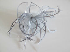 NEW Silver Grey Large looped feather and fabric comb fascinator wedding races