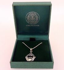 .925 Sterling Silver Pendant & Necklace Gift Boxed Claddagh Celtic Trinity Knot
