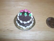 Re Ment Barbie size Chocolate Cake Pink Roses Doll House Diarama Sweet Shop OOAK