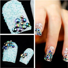 300pcs 3D Nail Art Tips Crystal Glitter Rhinestone Pearl Decoration + Wheel  New