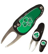 New Shamrock Deluxe Pebble Divot Tool Pitchmark Repairer with Ball Marker Irish