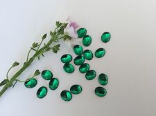 Vintage Flatback Oval Emerald Glass 10x8mm 1980 CRAFT Pack of 12 Post Free