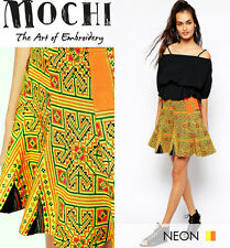 RRP £120 MOCHI BNWT PATCHWORK HAND EMBROIDERED BOHO FESTIVAL MINI SKIRT, M L