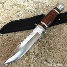 "10.5"" Stainless Steel Survival Skinning Hunting Knife Wood Handle Bowie -TH"