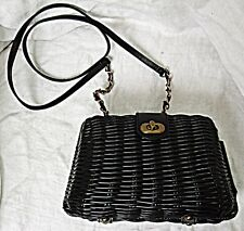 ATMOSPHERE RETRO  60S STYLE SMALL LUCITE BASKET WEAVE SHOULDER BAG SIMPLE