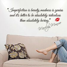 MARILYN MONROE - IMPERFECTION IS BEAUTY WALL STICKER QUOTE DECAL ART Home Decor