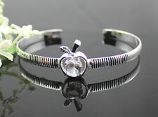 fancy hot! 925sterling solid Silver Cute apple Thick Charm Cuff Bracelet bangle
