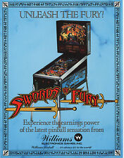 1988 WILLIAMS SWORDS OF FURY PINBALL FLYER MINT