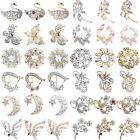 Fashion Wedding Bridal Jewelry Gold Silver Crystal Rhinestone Pearl Brooch Pin