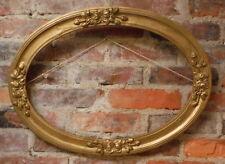 Antique Oval Wood Frame Large Gold Gesso Wooden Vintage Art Deco Roses