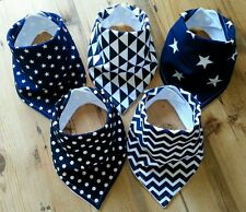 Baby Boys Bandana Dribble Bib Bundle. Navy Geometric Prints. My Little Owl