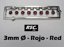 RING LIGHTS 3 mm RED 8 UNITS - LENSES FAROS FARE RESIN SLOT KIT DETAIL SET
