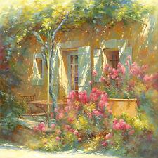 Johan Messely: Bouquet de Valérianes Fertig-Bild 50x50 Wandbild Garten Idylle