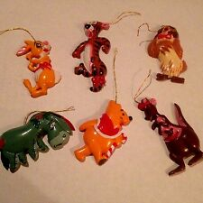 Vintage 70s Walt Disney Productions Christmas Ornaments Winnie the Pooh Set of 6