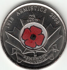 2008 Canada Remembrance Day Poppy 25Cents UNC From Mint Roll