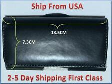 HORIZONTAL BLACK LEATHER CASE FOR IPHONE 5 5S 5C / 4S 4 CARRYING POUCH