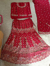 lovely maroon red bridal lengha - indian - bollywood new with tags size 12 - 16