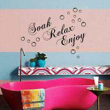 "Bathroom Shower Time ""Soak Relax Enjoy "" Bubble Motto Wall Stickers Wall Decal"