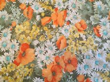 Vintage Patio Tablecloth Circle Flowers 1960s 1970s Fringe Retro Bbq Flowers