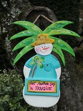 TROPICAL COUNTRY CHRISTMAS SNOWMAN PRIMITIVE RUSTIC SHABBY CHIC SIGN PLAQUE