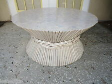 Sheaf of Wheat Table Base Coffee Rattan bamboo McGuire Style Cottage 1 of 2 pair