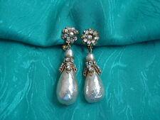 Miriam Haskell Baroque Pearl Rhinestone Drop Ear Rings Vintage